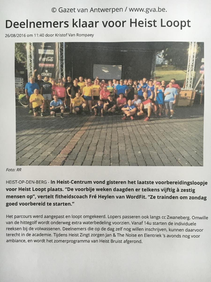 Artikel over Voorbereidingsloopjes Heist Loopt georganiseerd door Fré Heylen van WordFit