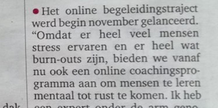 Artikel Gazet van Antwerpen 09/11/2016