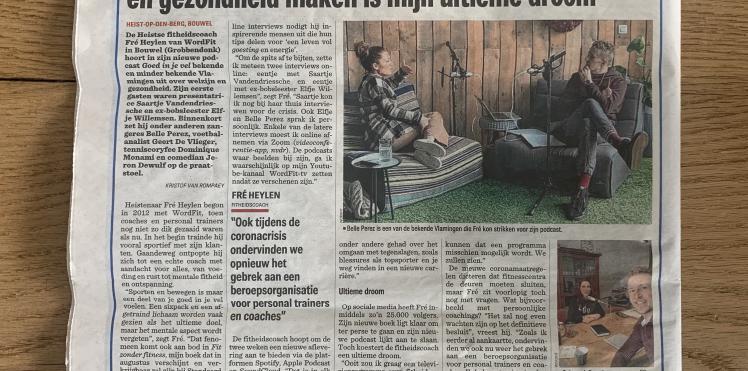 Artikel in Het Nieuwsblad 30/07/2020