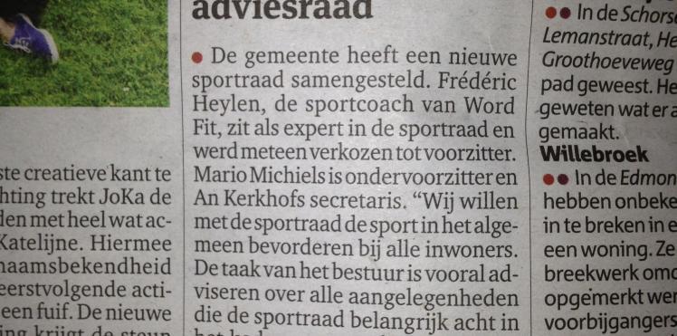 Artikel Gazet van Antwerpen 03/07/'13