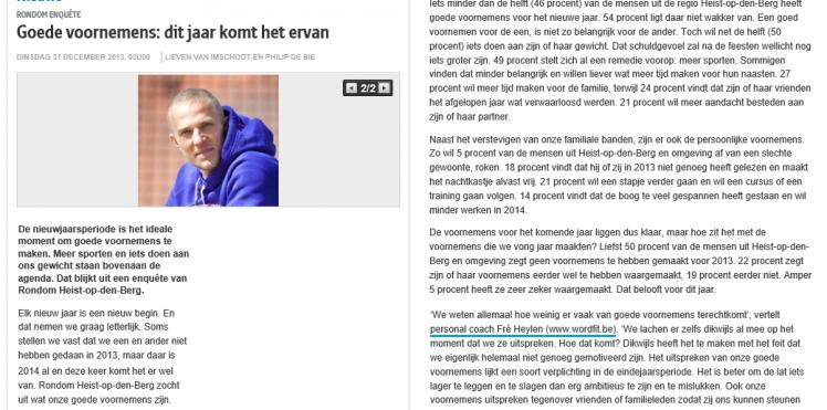 Artikel Rondom Heist-op-den-Berg (Het Nieuwsblad) 31/12/2013