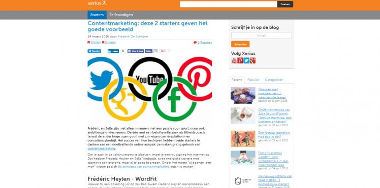 Artikel website Xerius: 'Contentmarketing: deze 2 starters geven het goede voorbeeld'