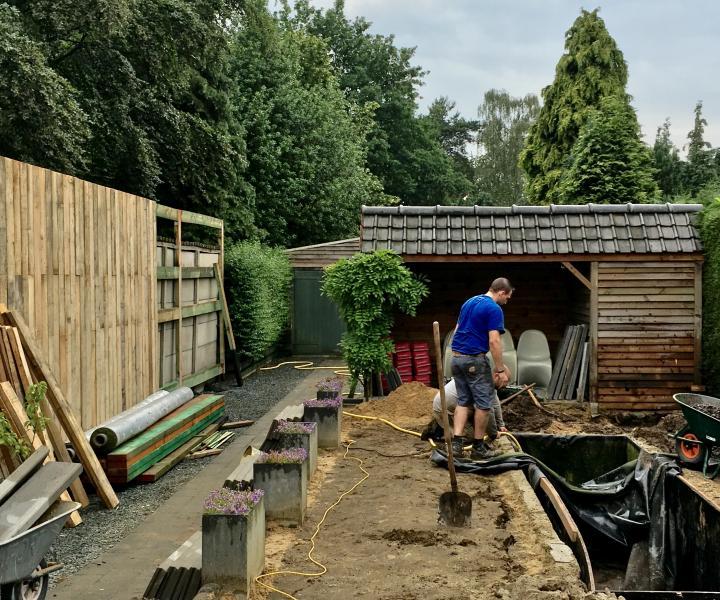 Heraanleg tuin aan WordFit-studio Bouwel
