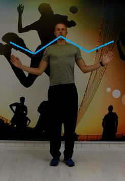 W-oefening om de correcte houding van je schouders te achterhalen WordFit.be