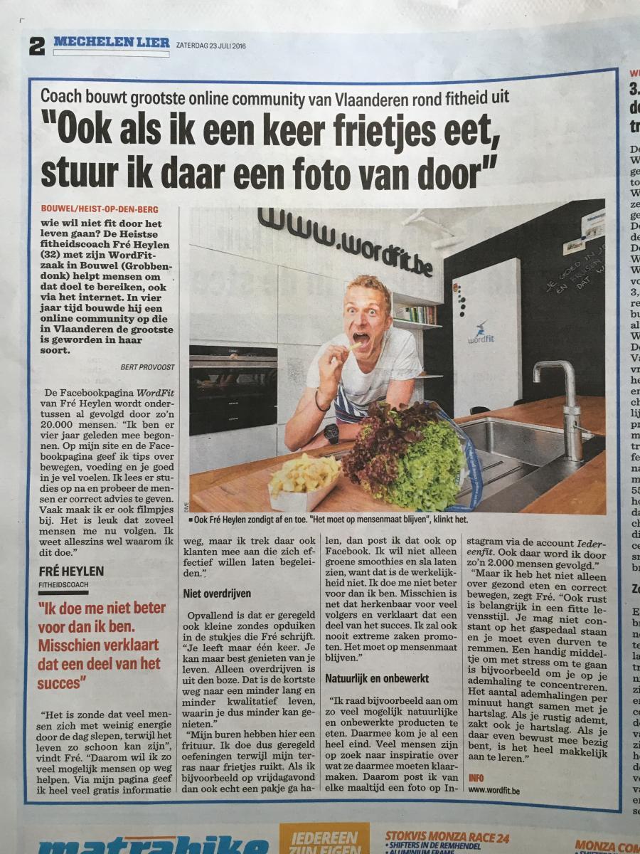 WordFit in de media: artikel over grootste FIT-community van Vlaanderen